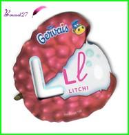"""Magnet Pochoir GERVAIS L'Alphabet Avec Les Fruits Et Les Légumes """" Le L De Litchi """" - Letters & Digits"""