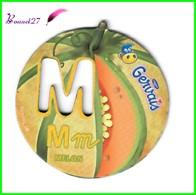 """Magnet Pochoir GERVAIS L'Alphabet Avec Les Fruits Et Les Légumes """" Le M De Melon """" - Letters & Digits"""