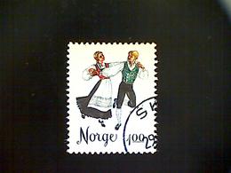 Norway (Norge), Scott 671, Used (o), 1976, Folk Dances, Springar, 1k, Black And Multicolored - Norway