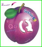 """Magnet Pochoir GERVAIS L'Alphabet Avec Les Fruits Et Les Légumes """" Le Q De Quetsche """" - Letters & Digits"""