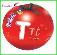 """Magnet Pochoir GERVAIS L'Alphabet Avec Les Fruits Et Les Légumes """" Le T De Tomate """" - Letters & Digits"""