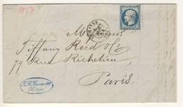 (C19) - Y&T N°14 - LETTRE LE HAVRE => PARIS 1854 - PC  1495 - 1849-1876: Klassieke Periode