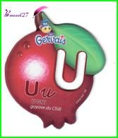 """Magnet Pochoir GERVAIS L'Alphabet Avec Les Fruits Et Les Légumes """" Le U De  Ugni """" Goyave Du Chili - Letters & Digits"""