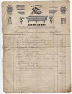 Facture à En-tête Publicitaire A La Renommée Lacan-Aubry Fabricant De Billards à Orléans 97 Rue Bannier 19ème 1855 - 1800 – 1899