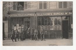 CARTE PHOTO - PARIS - MILITAIRES DEVANT LE BUREAU DE POSTE N°38, RUE CLAUDE BERNARD - 75 - France