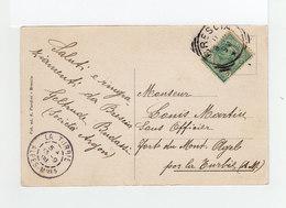 Sur CPA De Brescia CAD Carré De Brescia 1908 Sur Timbre Victor Emmanuel II Et CAD La Turbie Alpes Maritimes. (2106x) - Storia Postale