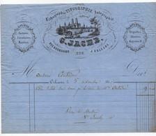 Facture à En-tête Publicitaire Lithographie Typographie Autographie G. Jacob à Orléans 220 Rue Bourgogne 19ème 1860 - 1800 – 1899