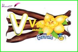 """Magnet Pochoir GERVAIS L'Alphabet Avec Les Fruits Et Les Légumes """" Le V De Vanille """" Fleur - Letras & Cifras"""