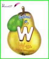 """Magnet Pochoir GERVAIS L'Alphabet Avec Les Fruits Et Les Légumes """" Le W De La Poire William """" - Letters & Digits"""