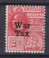 "British Guiana 1918 Mi. 139     2 C King George V. & Frigatte ""Sandbach"" Overprinted WAR TAX, MNH** - Guyane Britannique (...-1966)"