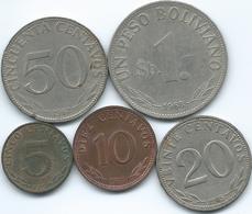 Bolivia - 5 (1965) 10 (1973) 20 (1965) & 50 Centavos (1967); 1 Peso (1968) - (KMs 187-190 & KM192) - Bolivia
