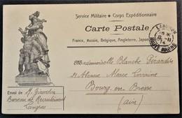 Carte De Franchise Militaire Corps Expéditionnaire Illustrée République De Langres Vers Bourg En Bresse Nov 1914 - Marcophilie (Lettres)