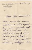 Correspondance Rochefort Sur Mer  Ecole De Dressage  Des Chevaux 1890 - Rochefort