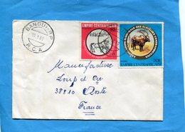 Marcophilie-lettre-EMPIRE CENTRAFRICAIN -pour Françe-cad- -1980-2- Stamps-N°391 éleveurs+patrimoine Culturel - Zentralafrik. Republik