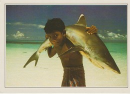 CP - PHOTO - MALEDIVEN XV - THE MALDIVES - WHITE TIPPED SHARK CARRIED BY A YOUNG CHILD - EDITO SERVICE - 1989 - 1990 - Maldives