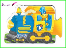 """Magnet GERVAIS Le Train Des Chiffres """" La Locomotive  Jaune """" - Letters & Digits"""