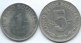 Bolivia - 1 Peso - 1968 - FAO War Against Hunger (KM191) & 5 Pesos - 1980 - (KM197) - Bolivia