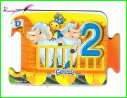 """Magnet GERVAIS Le Train Des Chiffres """" Le Wagon Avec Le Chiffre 2 """" Deux Moutons - Letters & Digits"""