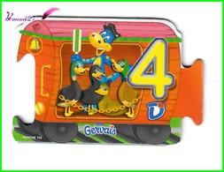 """Magnet GERVAIS Le Train Des Chiffres """" Le Wagon Avec Le Chiffre 4 """" Quatre Canards - Letters & Digits"""