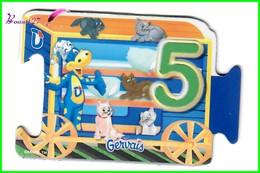 """Magnet GERVAIS Le Train Des Chiffres """" Le Wagon Avec Le Chiffre 5 """" Cinq Chats - Letters & Digits"""