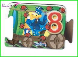 """Magnet GERVAIS Le Train Des Chiffres """" Le Wagon Avec Le Chiffre 8 """" Huit Coccinelles - Letters & Digits"""