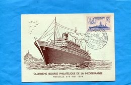 """Marcophilie-carte Paquebot """"PASTEUR""""cachet  Bourse Méditerranée*1954 5 Timbres - Paquebots"""