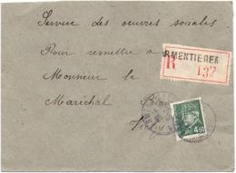 Lettre Recommandée Pour Les Oeuvres Du Marechal Petain Secour National De Armentieres Nord - Marcophilie (Lettres)