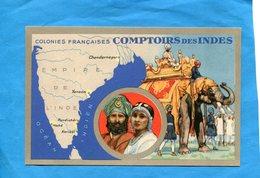 Comptoirs Des Indes*-colonies Française-illustré Carte Géo +éléphants Et Couple-années 20-30-pub Lion NOIR - France