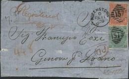 1870-Gran Bretagna Frammento Diretto In Italia Affr. 4p. Tavola 11+1sh. Tavola 4 Regina Vittoria Annullo Di Queenstown. - Usati