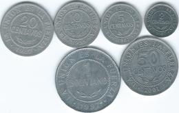 Bolivia - 2 (1987) 5 (1987) 10 (1995) 20 (1987) & 50 Centavos (1987); 1 Boliviano (1987) (KMs 200-205) - Bolivia