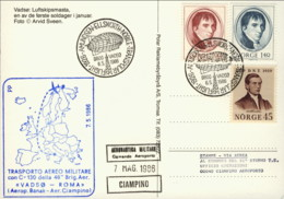 1986-Norvegia Cartolina Illustrata Volo Transpolare Amunsen Ellsworth Nobile Cachet Trasporto Aereo Militare Con C 130 V - Posta Aerea