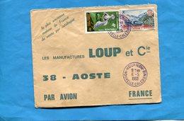 Marcophilie-lettre -NLLE Calédonie-pour Françe-cad-Houaillou-1969-2- Stamps-N°355-safari Auto-348 Bird Cabou - New Caledonia