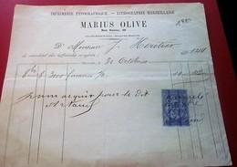 IMPRIMERIE-LITO-TYPO-OLIVE-HERITIER-MARSEILLE Facture Entête Document Commercial Envoice-BILL OF LADING-Manuscrit-FISCAL - France