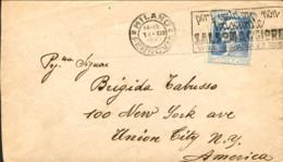 """1927-cat.Sassone Euro 100 Busta Diretta In Usa Affr. L. 1,25 Alessandro Volta Isolato Annullo Meccanico """"per I Vostri Ca - Storia Postale"""