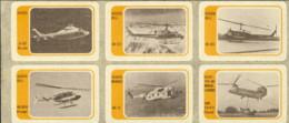 1970's-gruppo Di Sei Erinnofili Violacei Autoadesivi Con Diverse Tipologie Di Elicotteri - 6. 1946-.. Repubblica