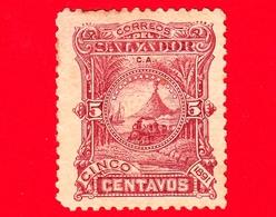 Nuovo - MH - EL SALVADOR - 1891 - Locomotive Davanti Al Vulcano San Miguel - 5 - El Salvador