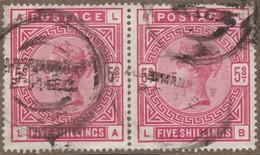 Grande-Bretagne 1883 Y&T 87 SG 180.  5/ Victoria, Paire Oblitérée Sur Petit Fragment - 1840-1901 (Victoria)