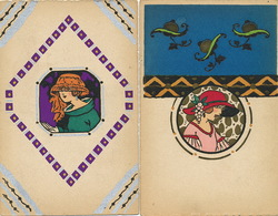 Art Deco Pochoir   2 Cartes  Belle Femme - Other Illustrators