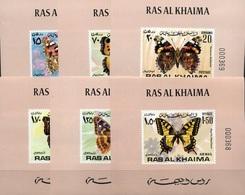 Ras Al Khaima, 1972,  Butterflies , 6  Lux Blocks With # - Papillons