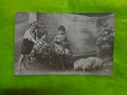 Bonne Annee  Ref 3233/34 Enfants Cochon Gui Brouette - Nouvel An