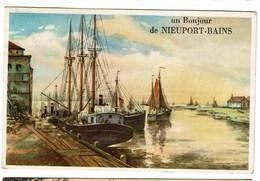 Un Bonjour De Nieuport-Bains - Circulée - 2 Scans - Nieuwpoort