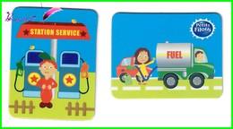 """2 Magnet Petits Filous """" La Station Essence Et Camion De Fuel """" - Letters & Digits"""