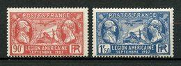 FRANCE 1927 N° 244/245 ** Neufs MNH Superbes C 12 €  Légion Américaine La Fayette Avions Plane - Unused Stamps
