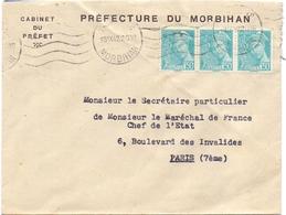 Lettre  Pour Le Secretaire Particulier De Petain De Vannes Morbihan Mercure - Guerra Del 1939-45
