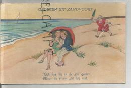 """Groeten Uit Zandvoort. Couple Sur La Plage Sous Un Parasol. Femme Jalouse Accourt: """"Kijk Hoe Hij In De Zon Geniet..."""" - Souvenir De..."""
