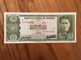 BOLIVIE 10 Pesos Bolivianos - P 154 - Ley Del 13 De Julio 1962 - Serie C - AU - Bolivia