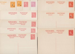 Finlande Années 1940-1950. 12 Entiers Postaux : 6 Cartes Simples, 6 Cartes Avec Réponse Payée - Finland
