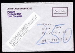 A6037) Bund Brief Postsache Mit Hinweiszettel Zur Nachgebühr Selten - BRD