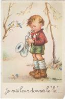 """JE VAIS LEUR DONNER LE """"LA"""" - Garçon Avec Saxophone - Illustrateur Maria Pia - Cartes Humoristiques"""