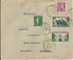 1941 - N° 502 Et 503 Oblitérés (o) Sur Lettre TORNAC Vers SUISSE - France